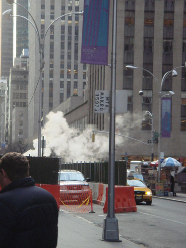 ニューヨーク 冬 湯煙