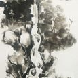 水墨画 滝 Little Waterfall in Sumi-e