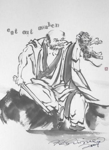 水墨画:長谷川等伯 禅宗祖師図(南泉斬猫)