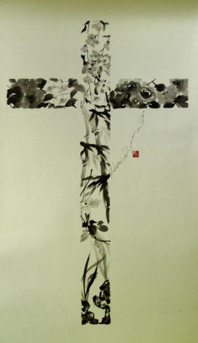 水墨画テリーヌ十字架