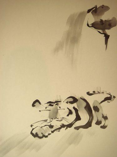 墨絵 虎と滝