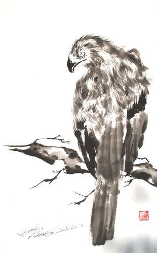 水墨画 鷹鷲