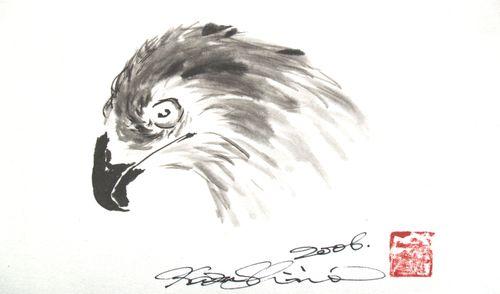 水墨画 鷲鷹頭図