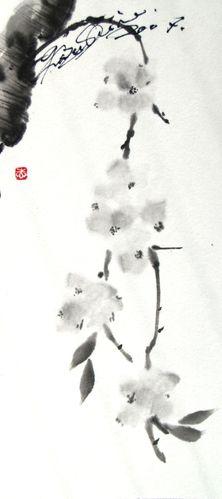 水墨画 桜散前之図