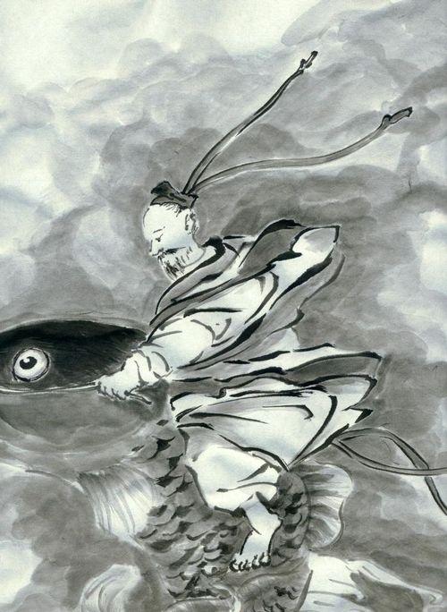 雪村周継 琴高群仙図 模写 Fishman