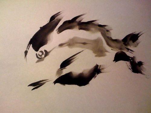 水墨画 鯛