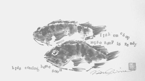 水墨画 魚