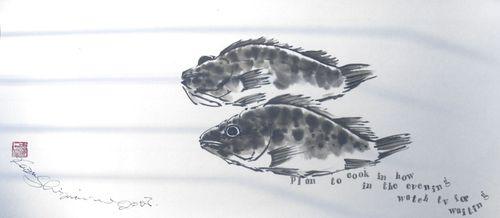 水墨画 魚 メバル