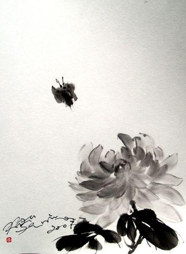 水墨画 菊蝶