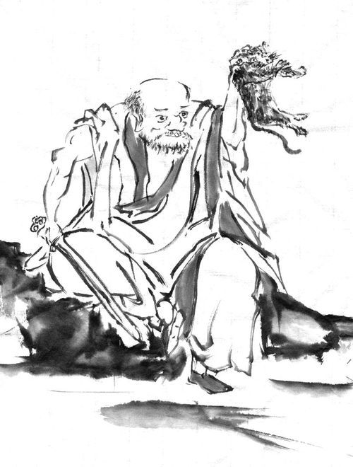 模写:長谷川等伯 禅宗祖師図(南泉斬猫)