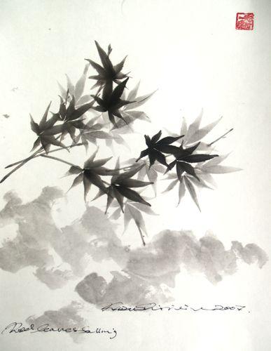 水墨画 紅葉と夕雲
