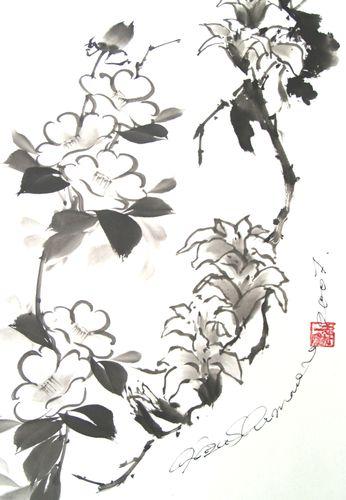 水墨画 椿と木蓮