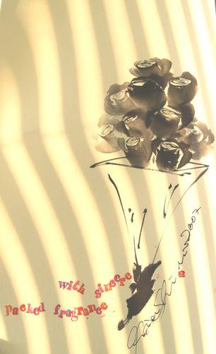 水墨画 薔薇の花束