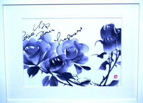 水墨画 青薔薇