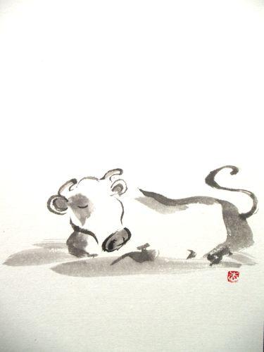 水墨画年賀状 牛①