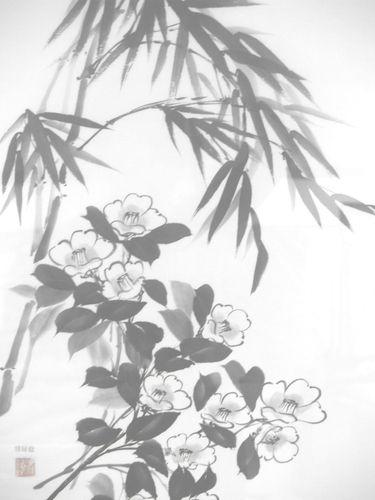 水墨画 椿竹
