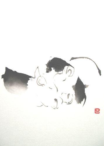 水墨画 牛図
