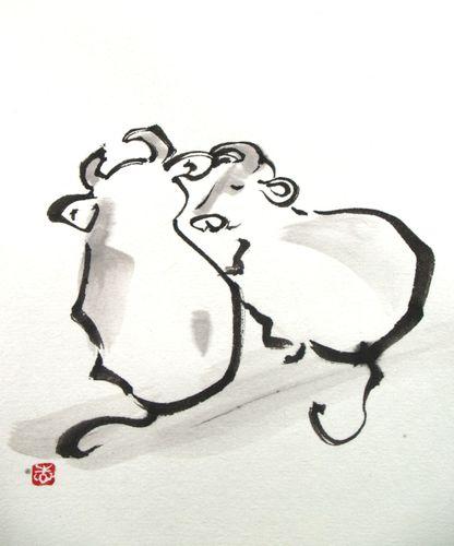 水墨画 年賀状素材 牛