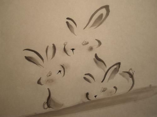 うさぎ 年賀状 水墨画