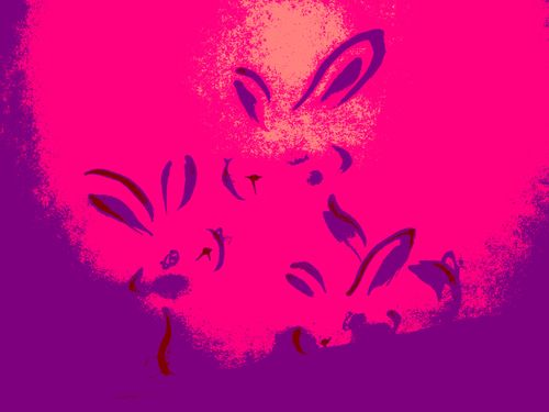 ウサギ 年賀状 水墨画