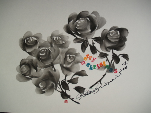 墨絵 クリスマスのバラ