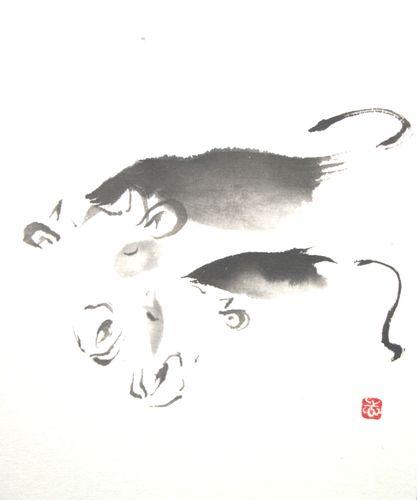 水墨画 年賀状 牛