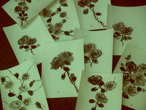 Roses Ink Painting 水墨画墨絵薔薇族