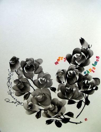 水墨画 クリスマスカード ハートのバラ