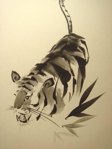 年賀状用 虎と竹