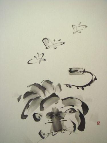 虎睡図 寅と蝶
