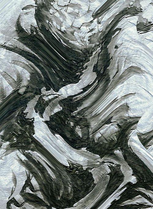 水墨画 滝氷河