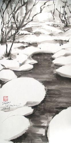 水墨画 冬景色 雪水枯木